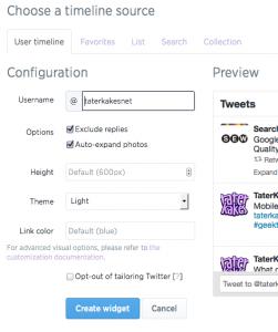 Adding Twitter widget configuration